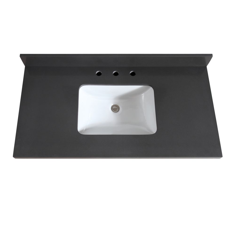 Avanity 43 inch Gray Quartz Vanity Top with Rectangular ...