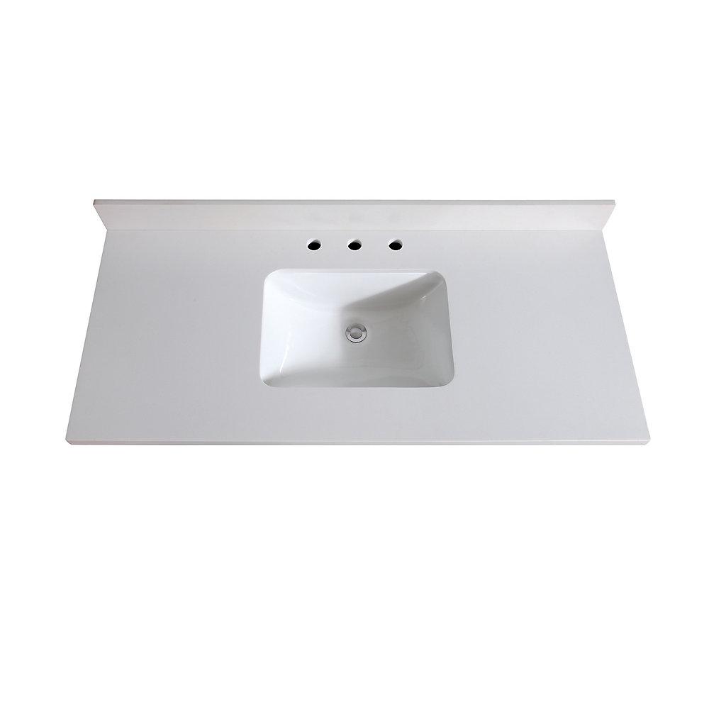 Avanity 49 inch White Quartz Vanity Top with Rectangular ...