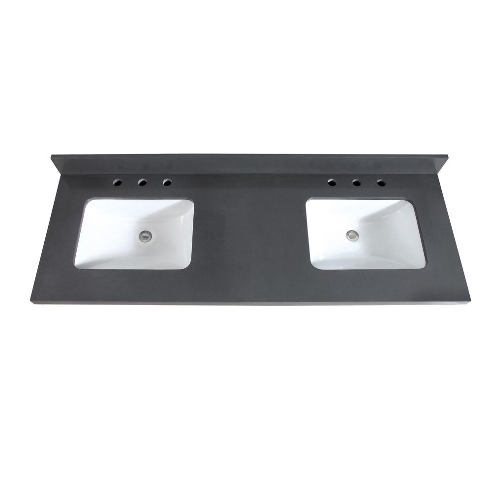 Avanity 61 inch Gray Quartz Vanity Top with Dual Rectangular Undermount Sinks
