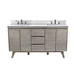 Avanity Coventry 61 inch Vanity in Gray Teak with Carrara White Top