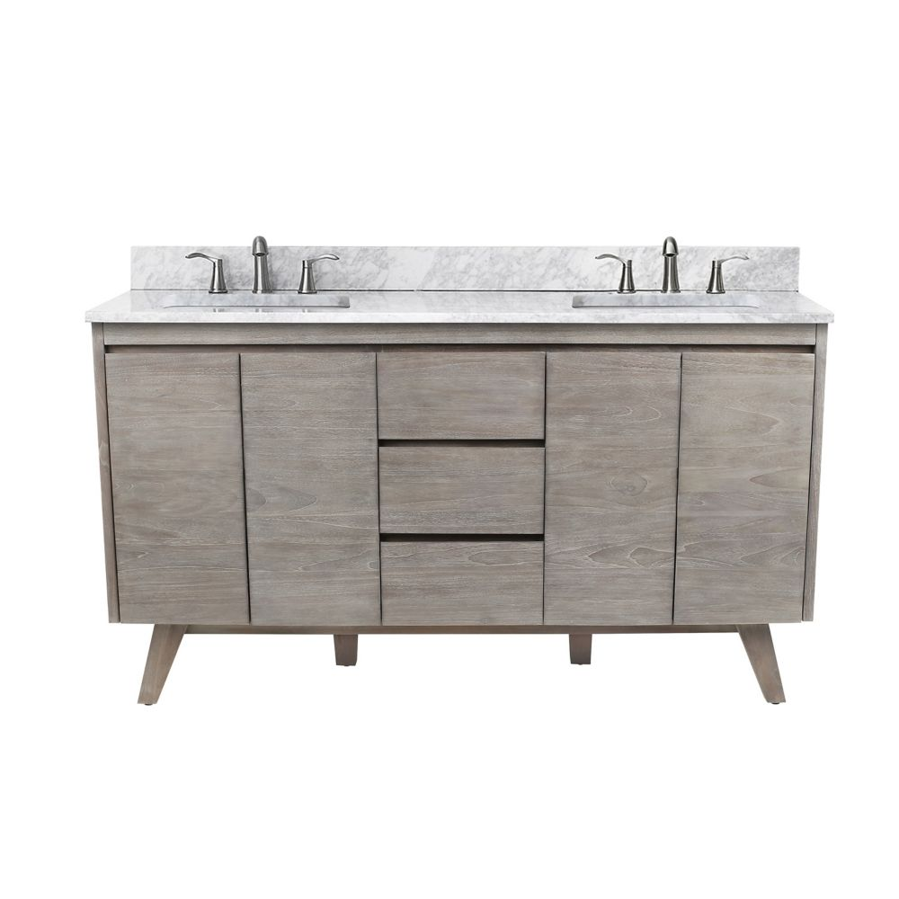 Avanity Coventry 61 inch Vanity in Gray Teak with Carrara White Top