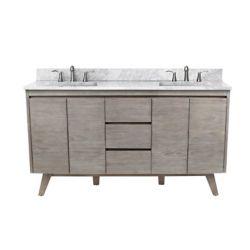 Avanity Meuble-lavabo Coventry de 61po, fini teck gris, et comptoir en marbre de Carrare blanc