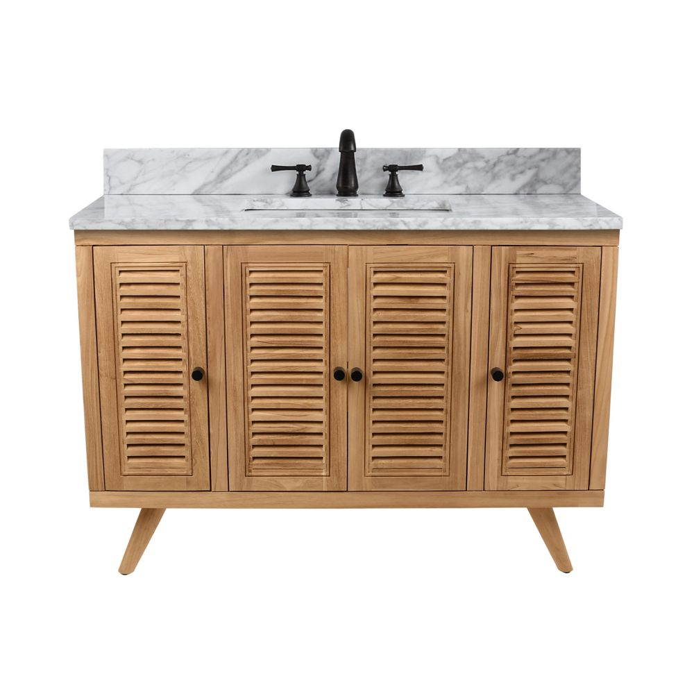 avanity harper 49 inch vanity in natural teak with carrara white top the home depot canada. Black Bedroom Furniture Sets. Home Design Ideas