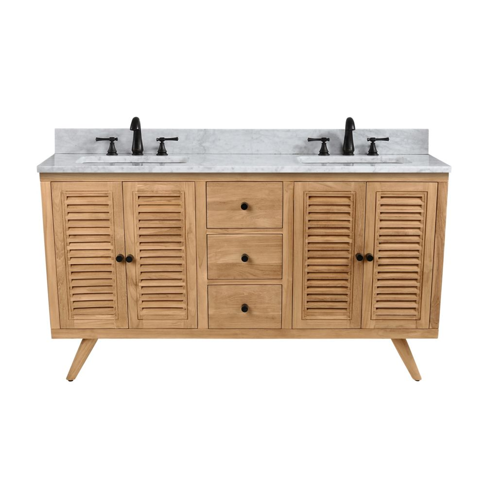 Avanity Harper 61 inch Vanity in Natural Teak with Carrara White Top