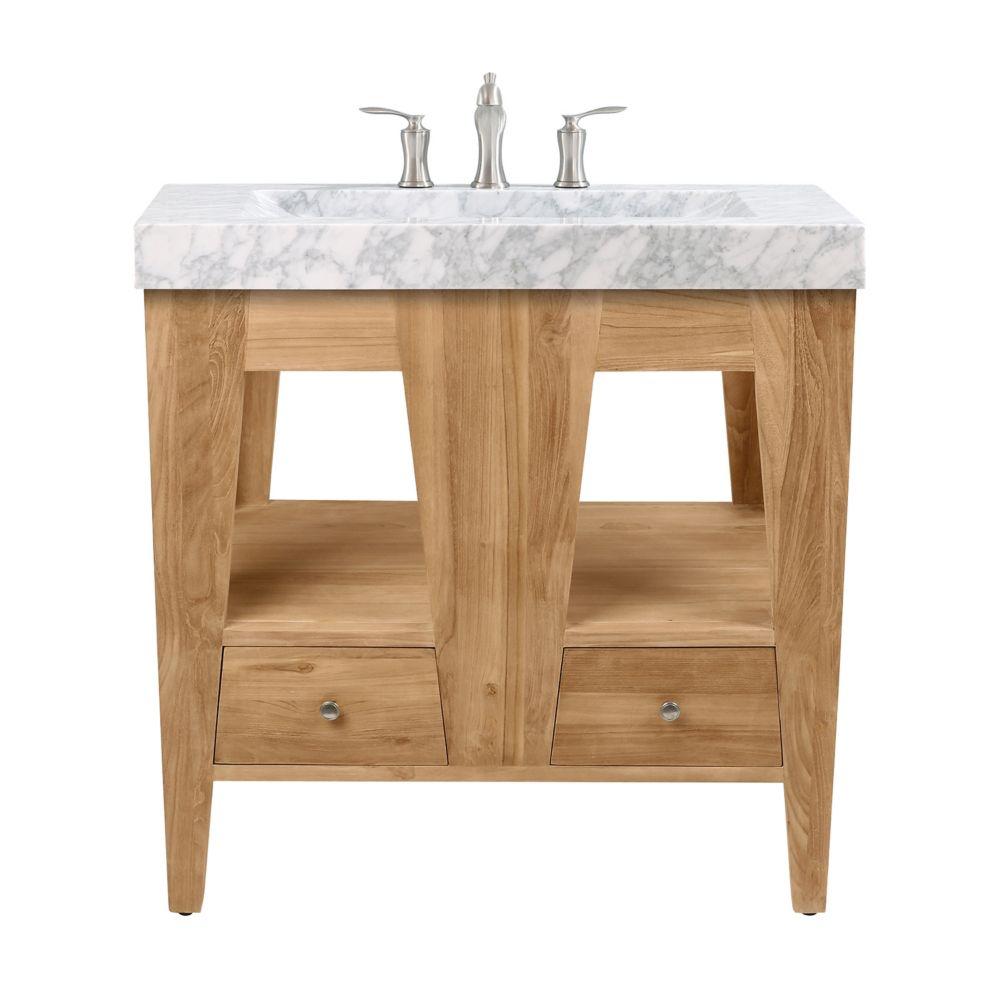 Avanity Jameston 33 inch Vanity in Natural Teak with Carrara Marble Top