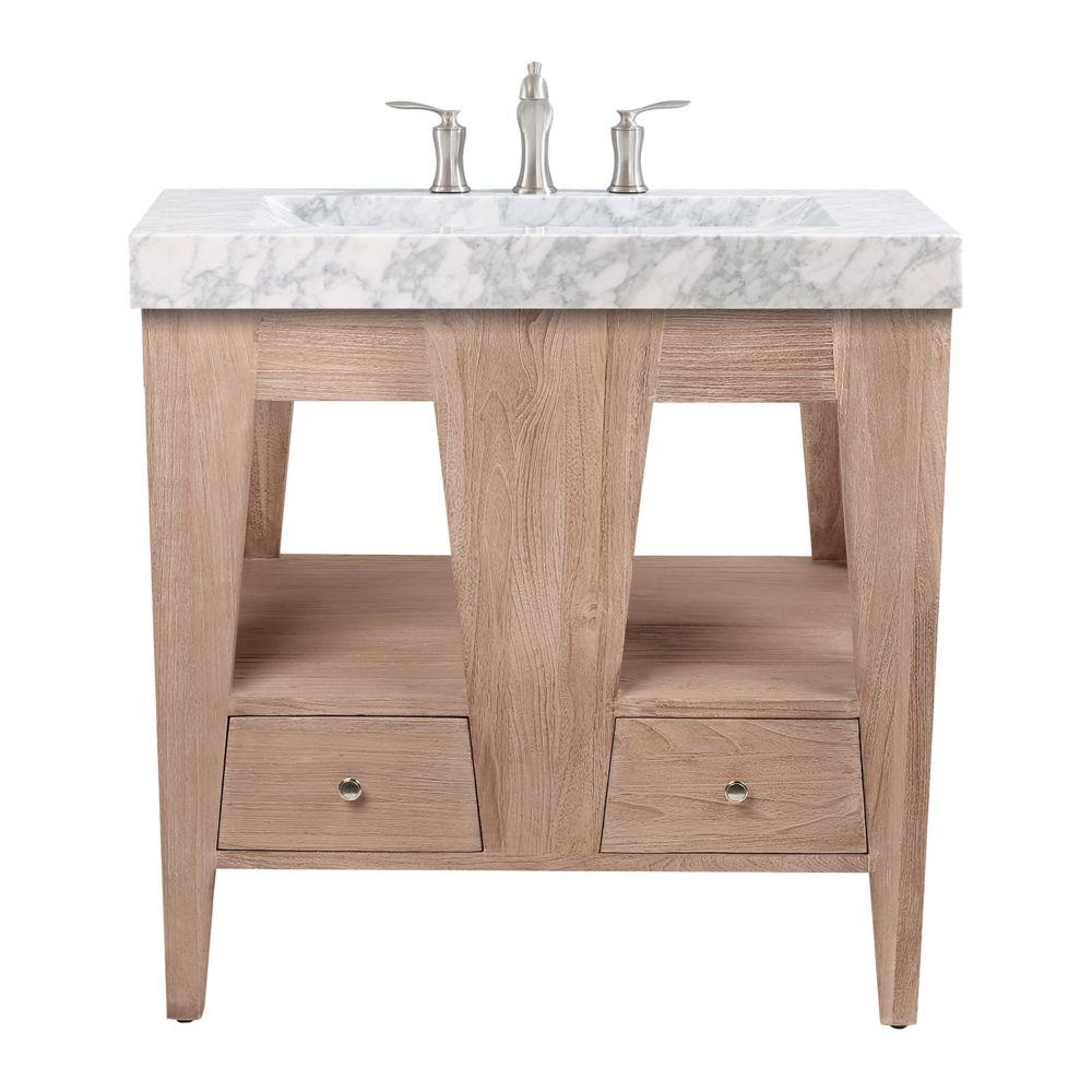 Avanity Jameston 33 inch Vanity in Rustic Teak with Carrara Marble Top
