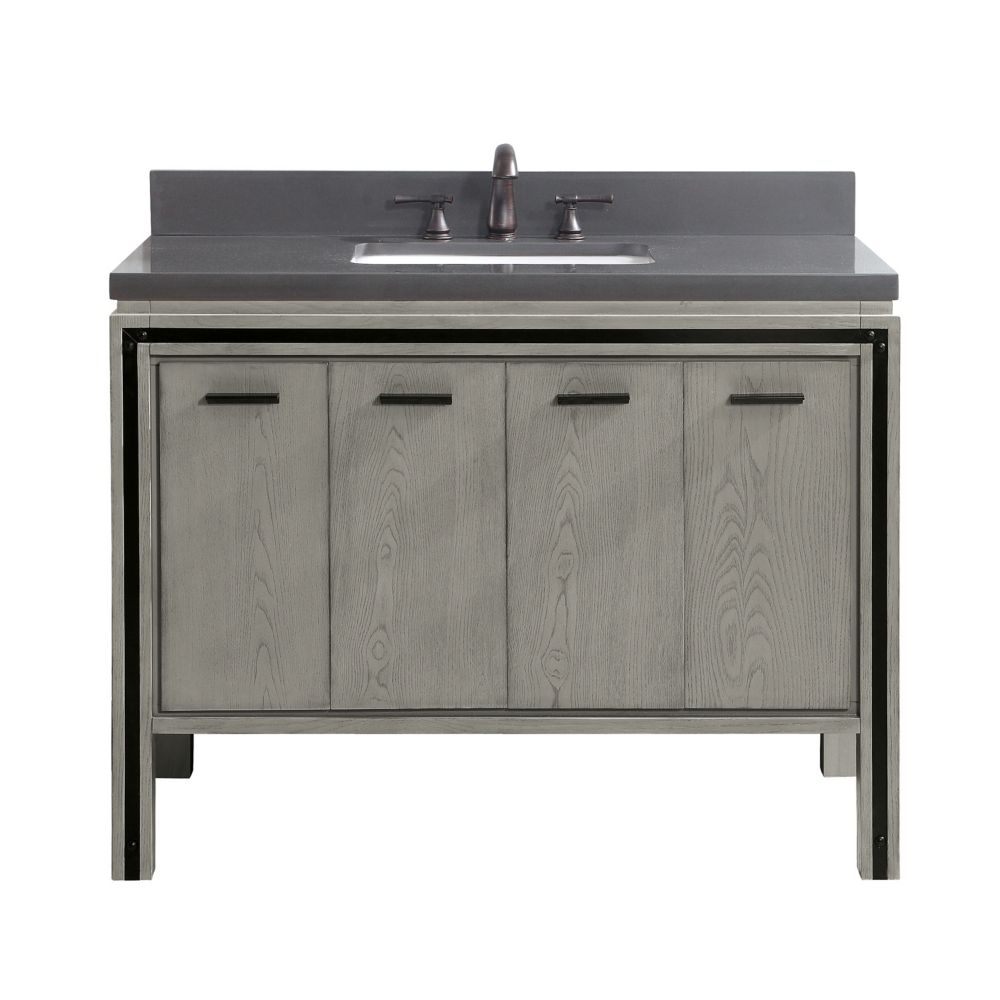 Avanity Dexter 43 inch Vanity Combo in Rustic Gray with Gray Quartz Top
