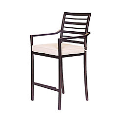 ONSIGHT Antibes Alum Counter Height Patio Bar Stool with Seat Cushion