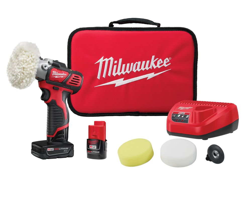 Milwaukee Tool M12 12V Lithium-Ion Cordless Variable Speed Polisher/Sander XC/Compact Battery Kit