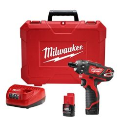 Milwaukee Tool M12 12V Kit de tournevis hexagonal sans fil au lithium-ion de 1/4 de pouce à 2 vitesses M12