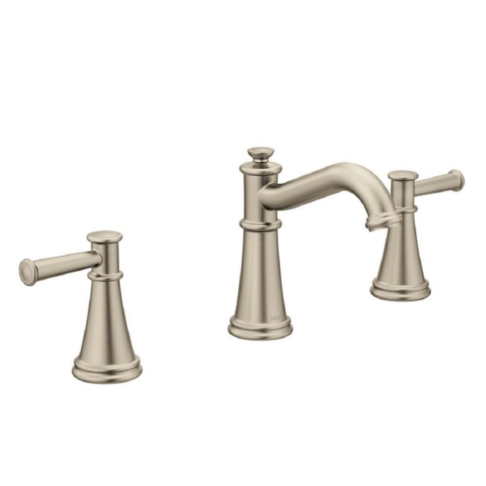 Moen Belfield Brushed Nickel Two-Handle High Arc Bathroom Faucet (Valve Sold Separately)