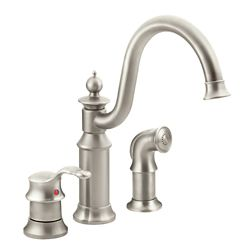 MOEN Waterhill High-Arc Single-Handle Standard Kitchen Faucet With Side Sprayer In Spot Resist Stainless