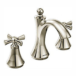 MOEN Wynford Two-Handle High Arc Bathroom Faucet in Polished Nickel (Valve Sold Separately)