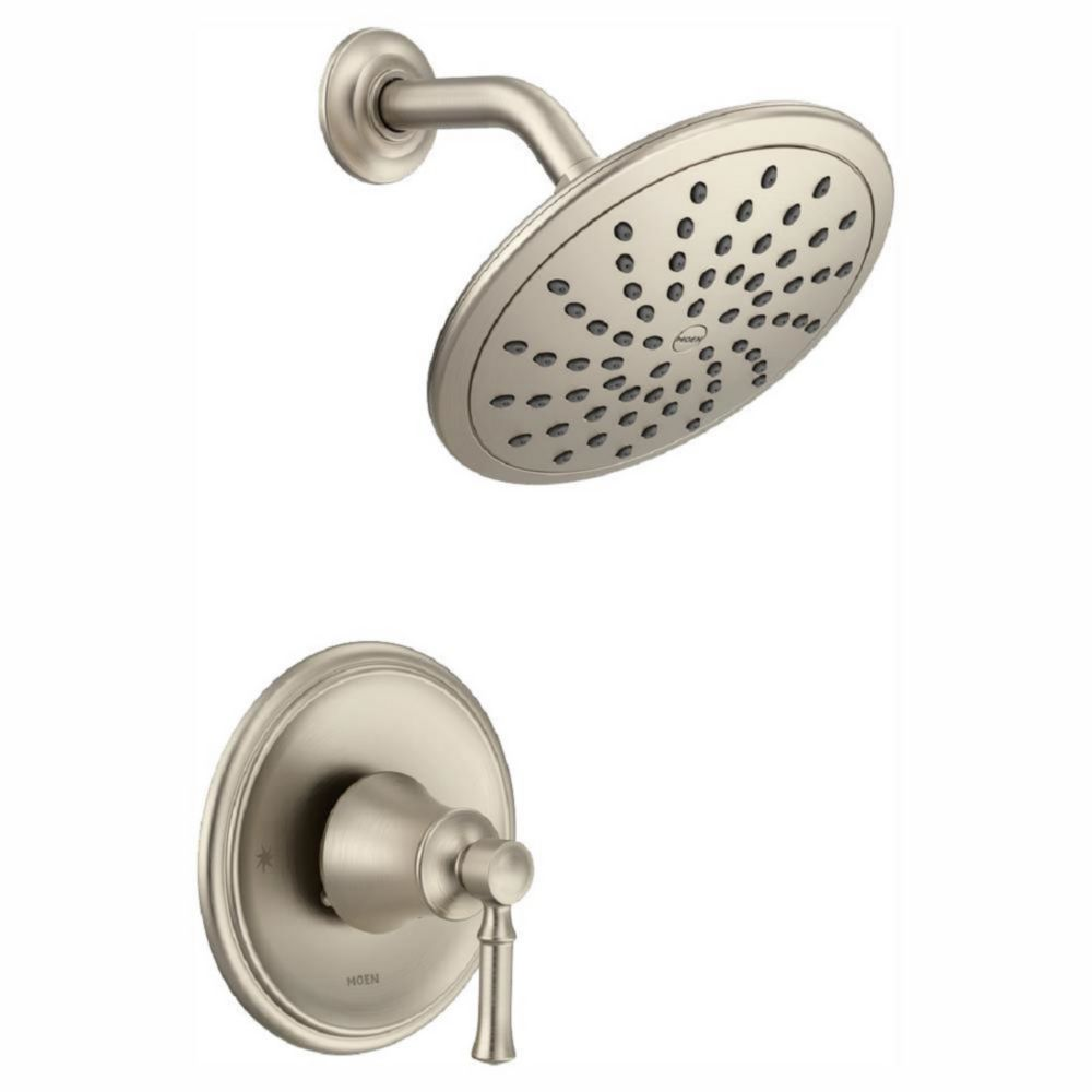 Moen Dartmoor Posi-Temp Rain Shower Tub And Shower Faucet Trim Kit in Brushed Nickel (Valve Sold Separately)