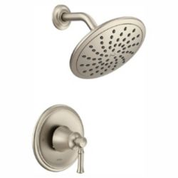 MOEN Dartmoor Posi-Temp Rain Shower Tub And Shower Faucet Trim Kit in Brushed Nickel (Valve Sold Separately)
