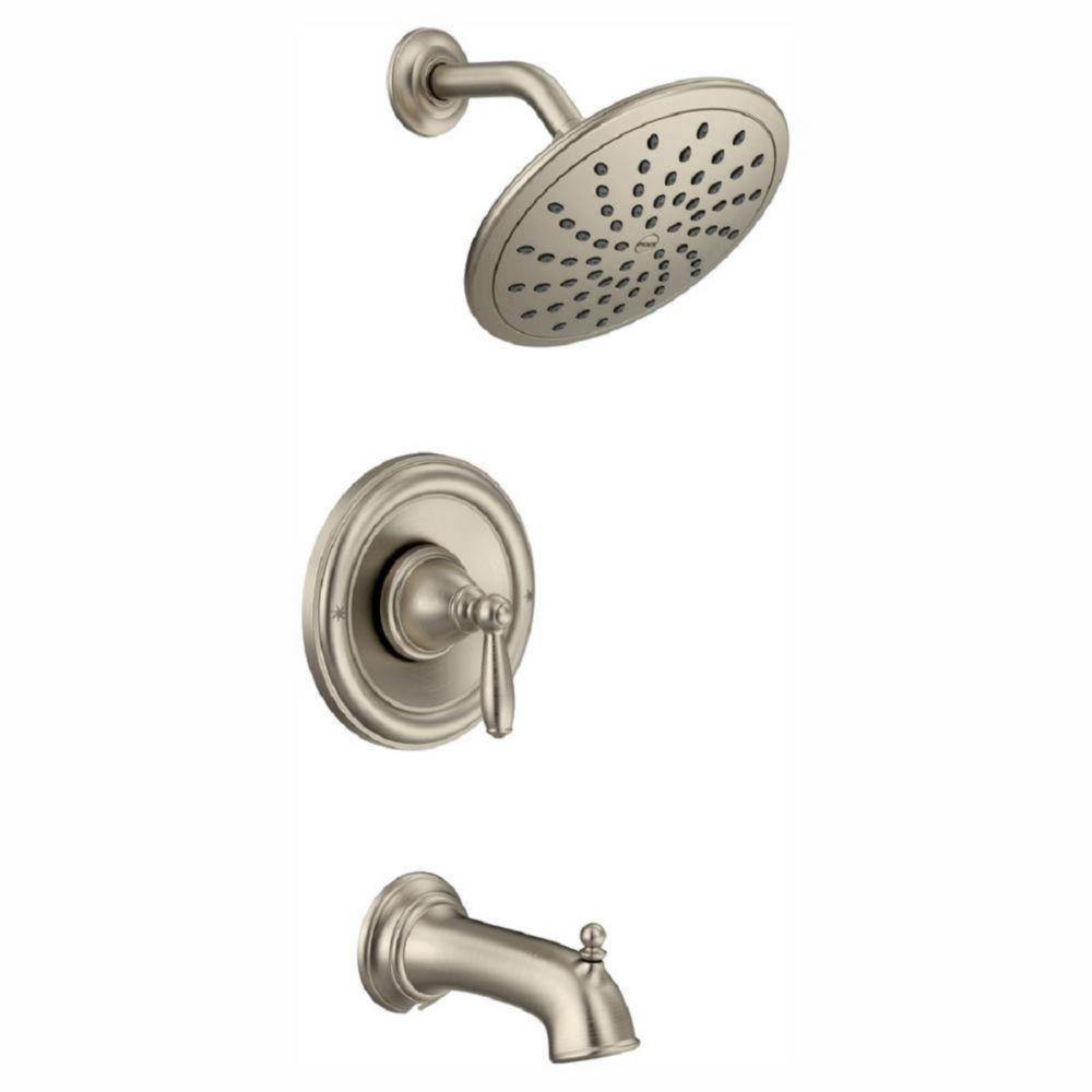 Moen Brantford Posi-Temp Rainshower 1-Handle Tub and Shower Faucet Trim Kit in Brushed Nickel (Valve Not Included)