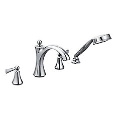 Wynford Chrome Two-Handle Diverter Roman Tub Faucet Includes Hand Shower