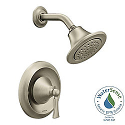 Ensemble de garniture de robinet de douche Posi-Temp en nickel brossé Wynford à poignée unique (valve vendue séparément)
