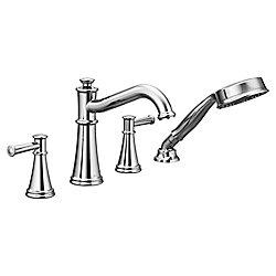 MOEN Robinet de baignoire romaine à deux poignées et mitigeur de douche Belfield, chrome, avec douchette