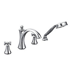 Wynford 2-Handle Deck-Mount Roman Tub Faucet with Handshower in Chrome (Valve Sold Separately)