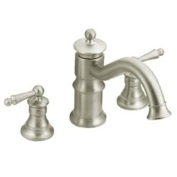 MOEN Waterhill Two-Handle High Arc Roman Tub Faucet in Brushed Nickel (Valve Sold Separately)