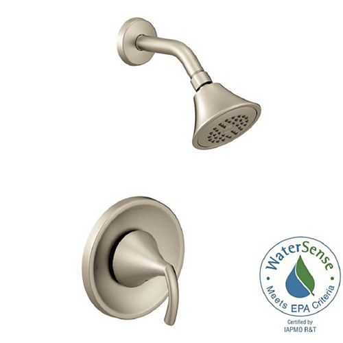MOEN Glyde 1-Spray Single-Handle Eco-Performance Posi-Temp Shower Faucet Trim Kit in Brushed Nickel (Valve Not Included)