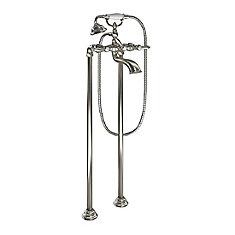 Weymouth Remplisseuse de baignoire à deux poignées avec douchette en nickel brossé (valve vendue séparément)