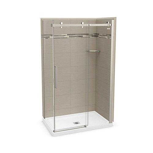 Utile 48 inch x 32 inch Origin Greige Corner Shower Kit with Brushed Nickel Door