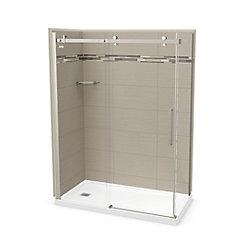 MAAX Utile 60 inch x 32 inch Origin Greige Left Hand Corner Shower Kit Brushed Nickel Door