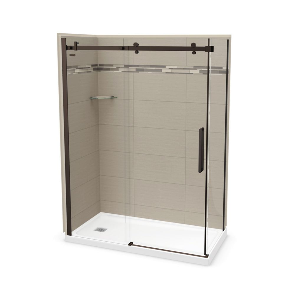 MAAX Utile 60 inch x 32 inch Origin Greige Left Hand Corner Shower Kit with Dark Bronze Door