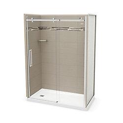 MAAX Utile 60 inch x 32 inch Origin Greige Left Hand Alcove Shower Kit with Chrome Door