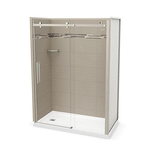 Utile 60 inch x 32 inch Origin Greige Left Hand Alcove Shower Kit with Brushed Nickel Door