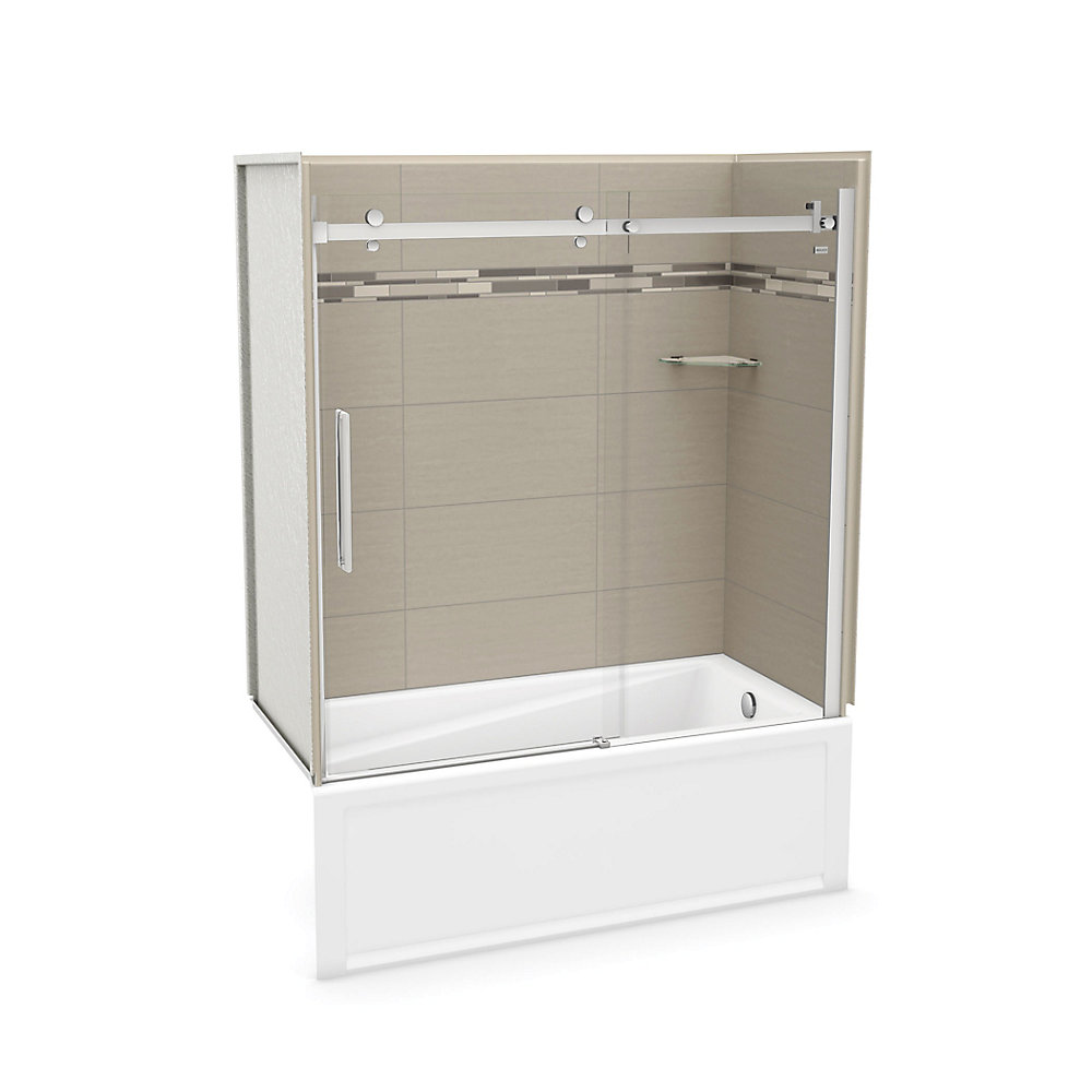 Utile 60 inch x 30 inch Origin Greige Tub Wall Kit with Right end Tub and Chrome Door