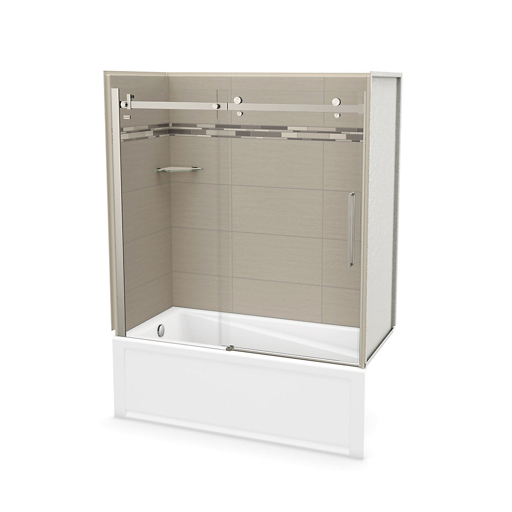 Utile 60 inch x 30 inch Origin Greige Tub Wall Kit with Left End Tub and Brushed Nickel Door
