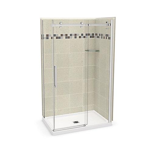 Utile 48 inch x 32 inch Stone Sahara Corner Shower Kit with Chrome Door