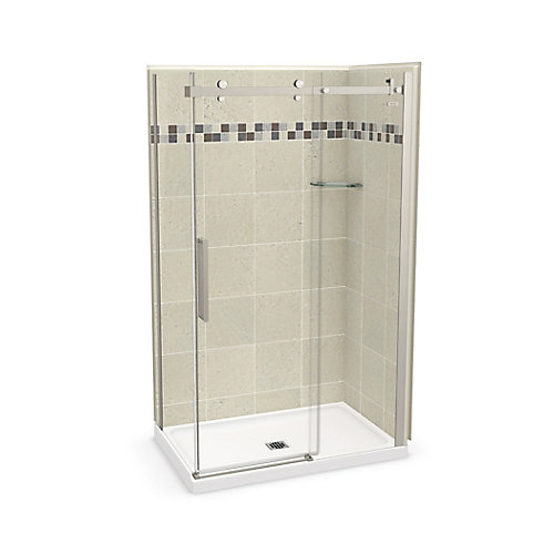 Utile 48 inch x 32 inch Stone Sahara Corner Shower Kit with Brushed Nickel Door