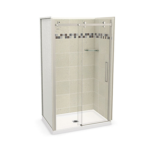 Utile 48 inch x 32 inch Stone Sahara Alcove Shower Kit with Brushed Nickel Door