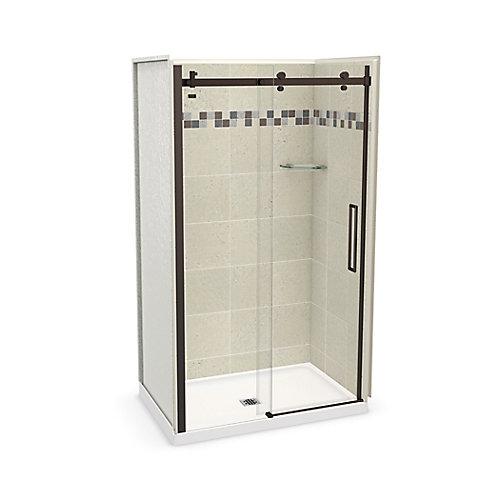 Utile 48 inch x 32 inch Stone Sahara Alcove Shower Kit with Dark Bronze Door