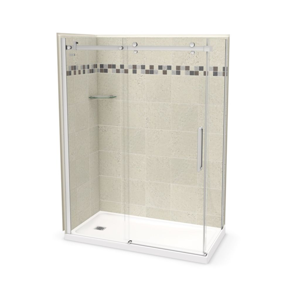 MAAX Utile 60 inch x 32 inch Stone Sahara Left Hand Corner Shower Kit with Chrome Door