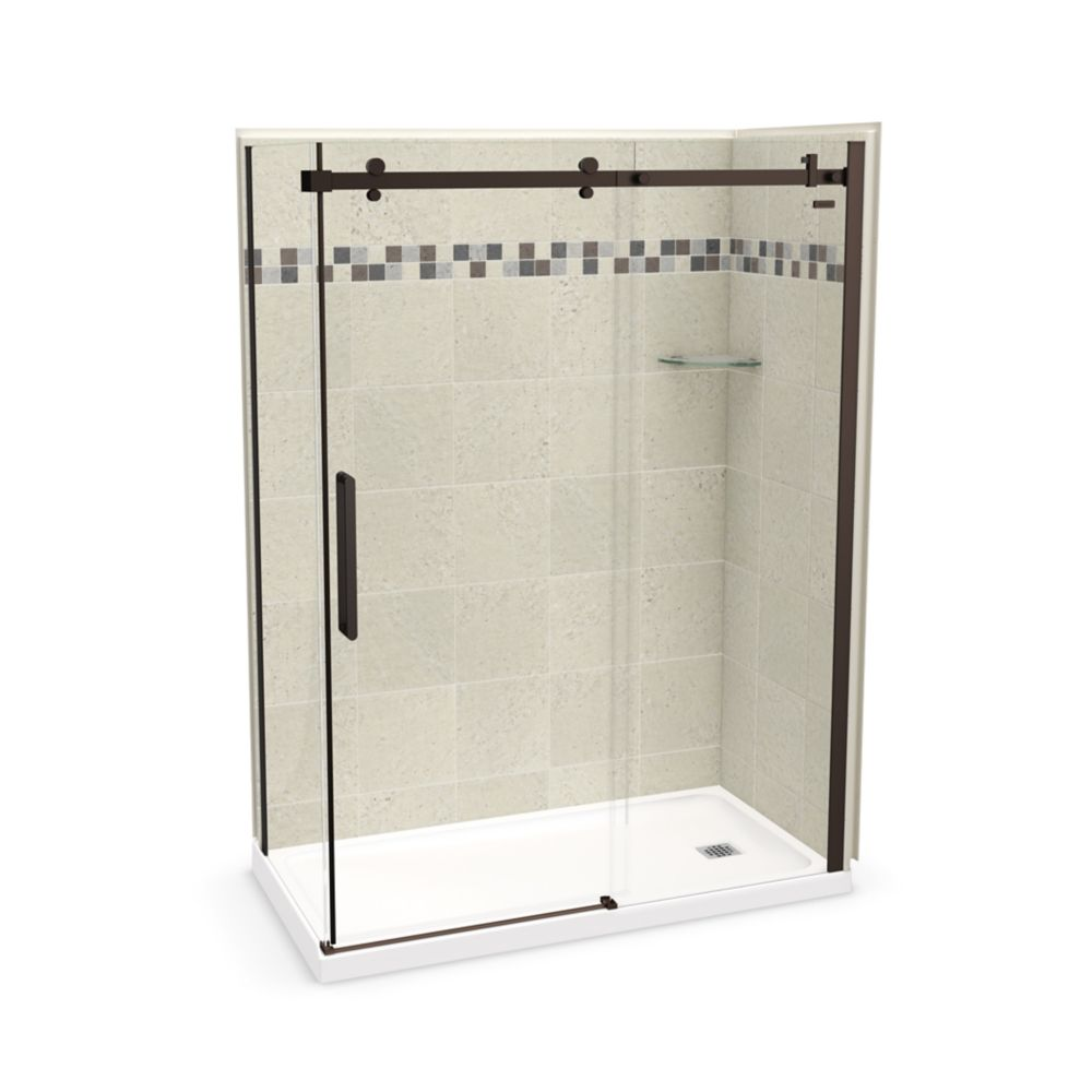MAAX Utile 60 inch x 32 inch Stone Sahara Right Hand Corner Shower Kit with Dark Bronze Door