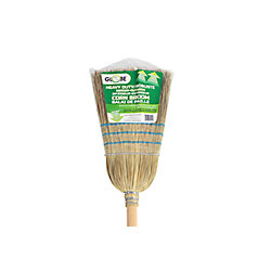 Globe Commercial Products Industrial Corn Broom 1 Wire 3 String
