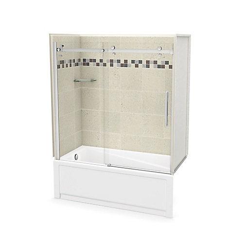 Utile 60 inch x 30 inch Stone Sahara Tub Wall Kit with Left End Tub and Chrome Door