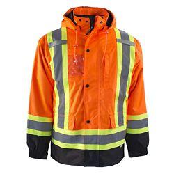 Terra Manteau de Haute Visibilité 7-EN-1 Doublé avec Bande Réflec (Orange) 2XL