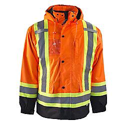 Terra Manteau Haute Visibilité 7-EN-1 Doublé avec Bande Réflec et Fermeture à Glissière YKK (Orange) L