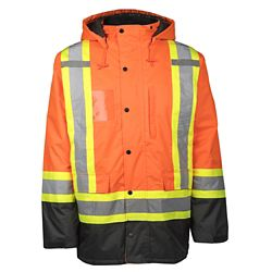 Terra Hi-VIS Lined Safety Parka with Rflt Band (Orange) SZ M
