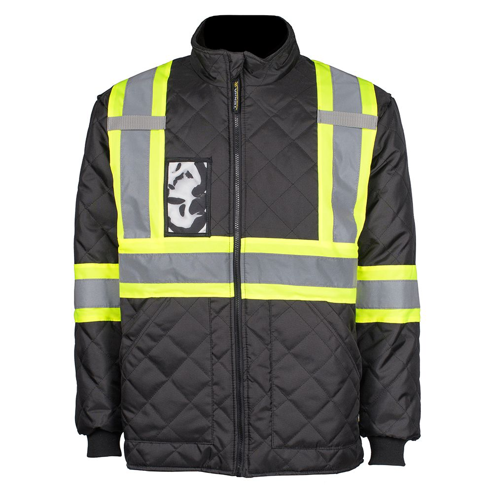 Work King Quilted Safety Jacket With Stripes Fluorescent