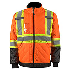 Hi-Vis Quilted Freezer Jacket w.Rflt Band (Orange) SZ M
