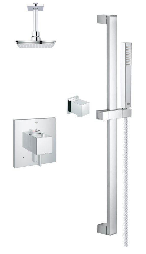 GROHE Modern Square Thermostatic Dual Fuction Shower Kit in StarLight Chrome