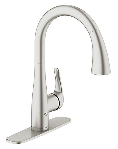 GROHE Elberon Dual Spray Pull-Down Kitchen Faucet in SuperSteel ...