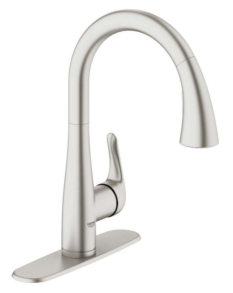 GROHE Elberon Dual Spray Pull-Down Kitchen Faucet in SuperSteel Infinity Finish